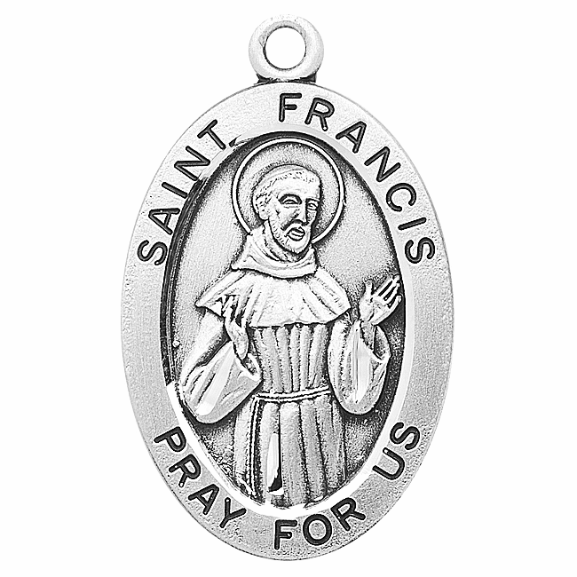 St Francis Large Oval Sterling Silver Patron Saint Medals by HMH Religious