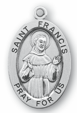 St Francis Large Saint Sterling Silver Medal Necklace w/Chain by HMH Religious