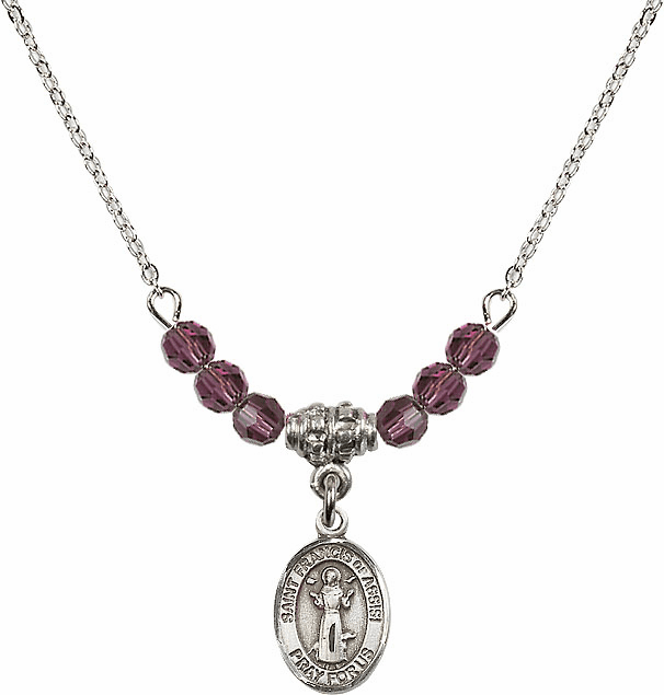 St Francis of Assisi 4mm Swarovski Crystal Saint Necklace by Bliss Mfg
