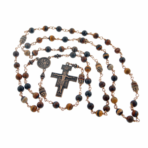 St Francis of Assisi Bronze Jasper Wire-wrapped Rosary by Heavenly Divine Rosaries