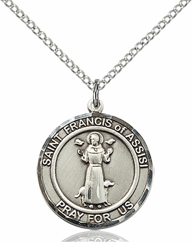 St Francis of Assisi Medium Patron Saint Sterling Silver Medal by Bliss