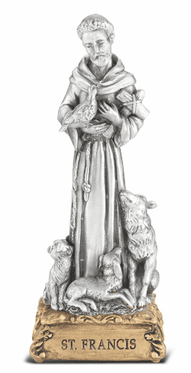 St Francis of Assisi Patron Saint Pewter Statue on Gold Tone Base by Hirten