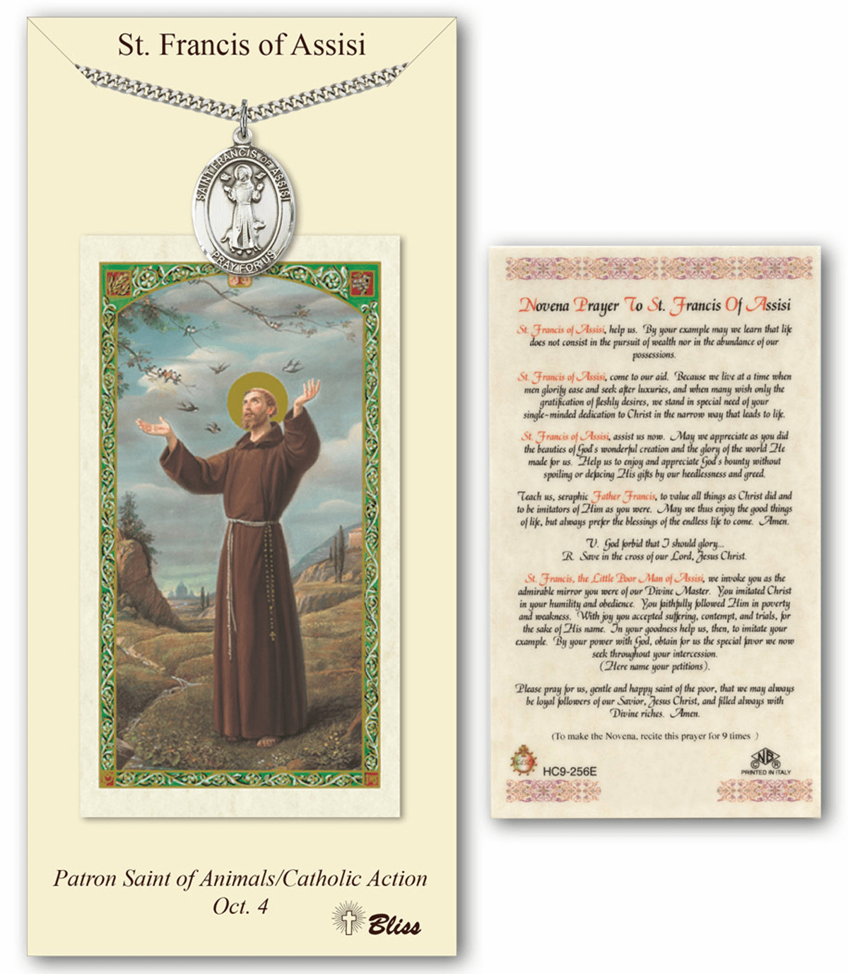 Bliss Mfg St Francis of Assisi Prayer Card & Pendant Gift Set