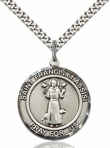 St Francis of Assisi Round Patron Saint Medal Necklace by Bliss