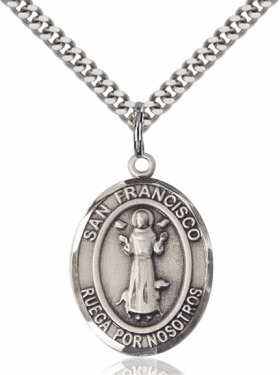 St Francis of Assisi Spanish Patron Saint Sterling Silver Necklace by Bliss