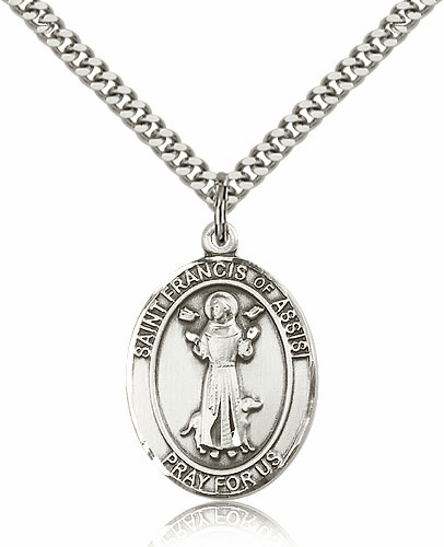 St Francis of Assisi Sterling Patron Saint Pendant Necklace by Bliss
