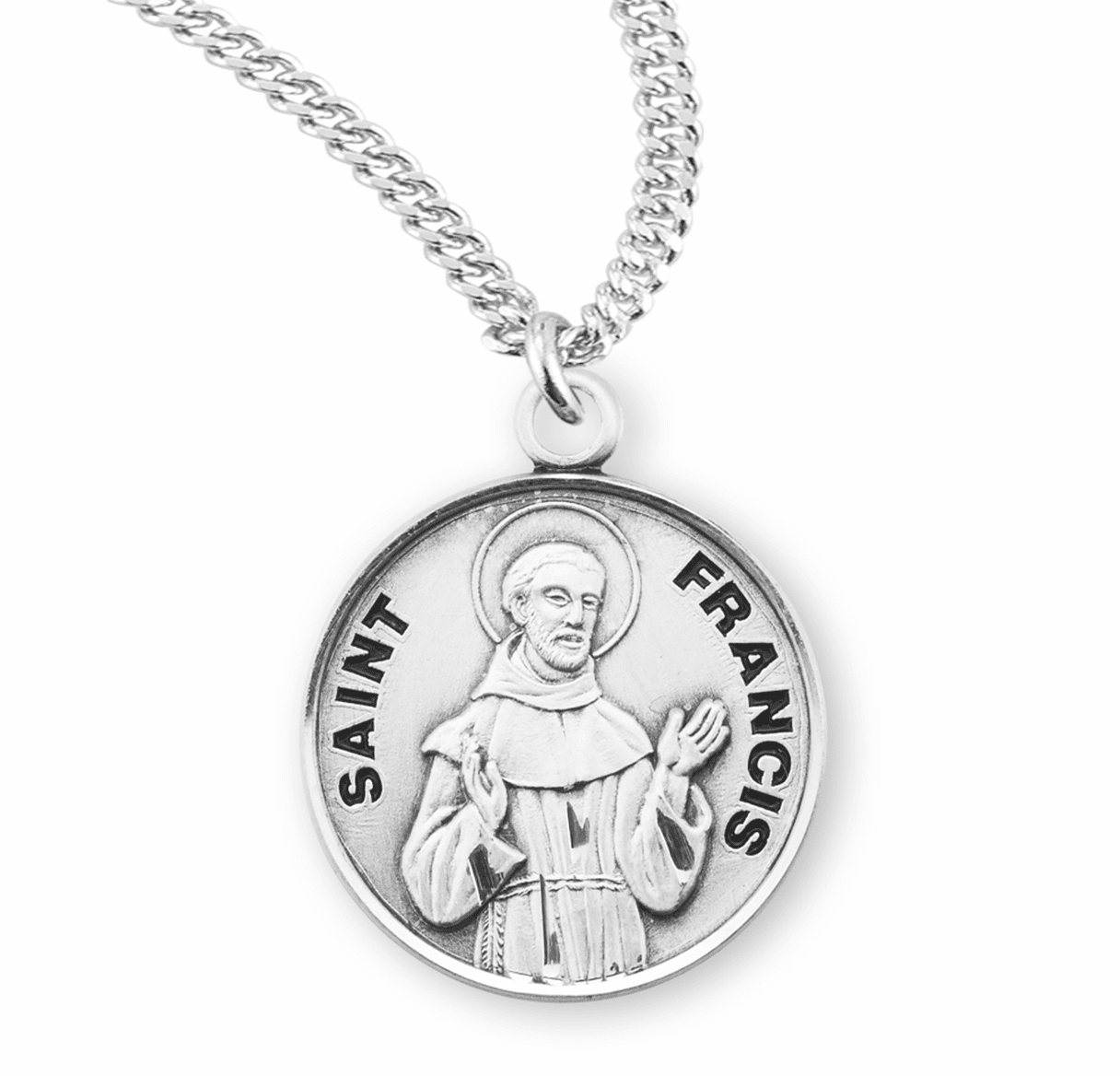 HMH Religious St Francis of Assisi Sterling Silver Patron Saint Necklace