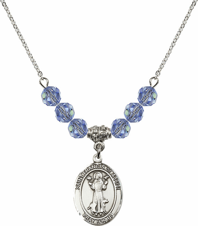 St Francis of Assisi Swarovski Crystal Beaded Patron Saint Necklace by Bliss Mfg