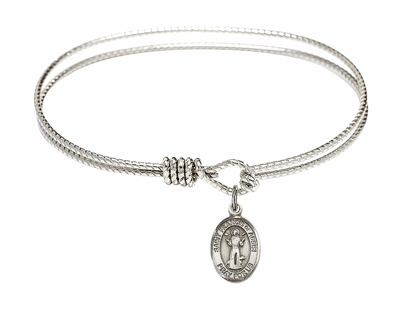 St Francis of Assisi Textured Bangle w/Sterling Charm Bracelet by Bliss