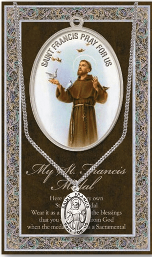 St Francis Pewter Patron Saint Medal Necklace with Prayer Pamphlet by Hirten