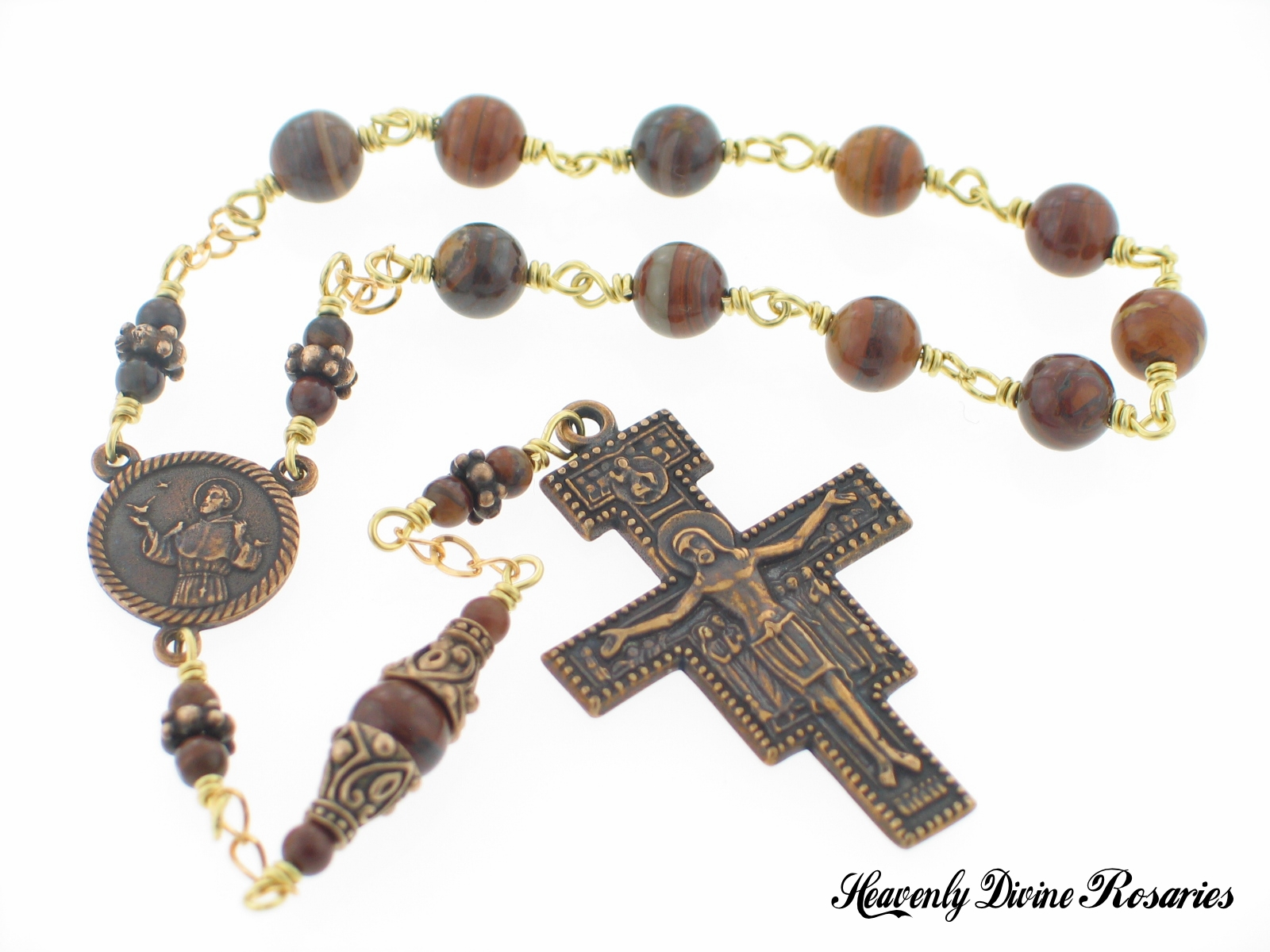 St Francis Prayer Jupiter Jasper Pocket Rosary by Heavenly Divine