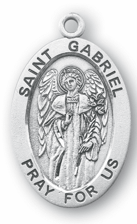 St Gabriel Large Saint Sterling Silver Medal Necklace w/Chain by HMH Religious
