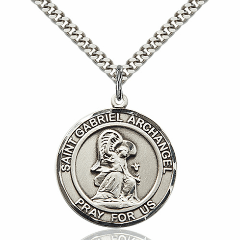 St Gabriel the Archangel Round Patron Saint Medal Necklace by Bliss