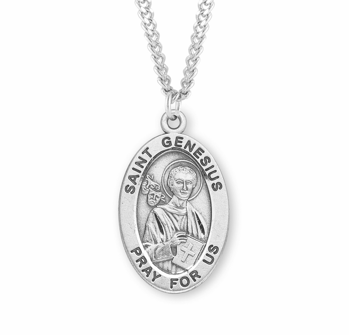 St Genesius Large Oval Sterling Silver Patron Saint Medals by HMH Religious