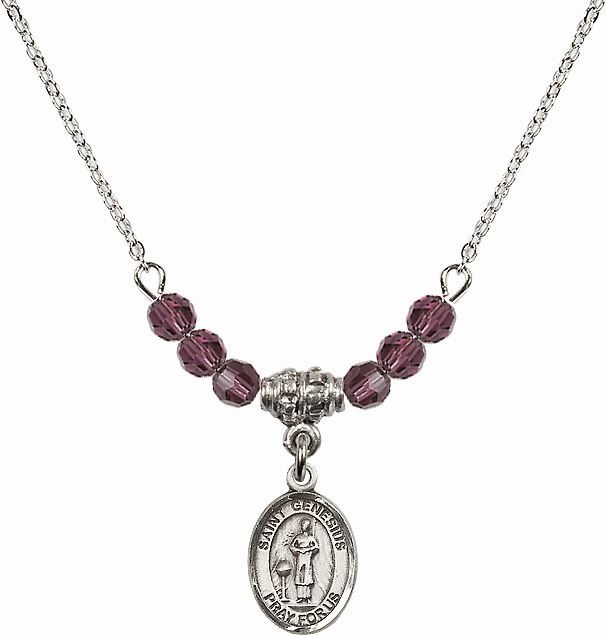 St Genesius of Rome 4mm Swarovski Crystal February Amethyst Necklace by Bliss Mfg