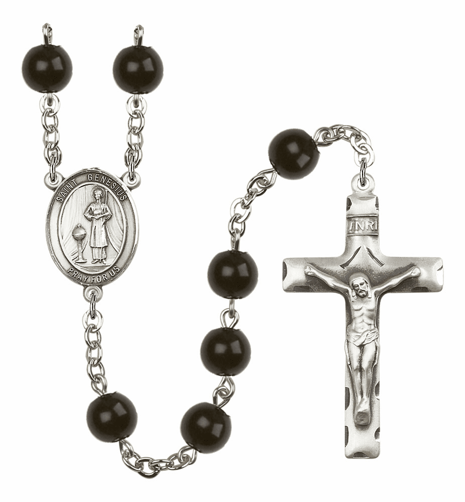 Bliss Mfg St Genesius of Rome Silver 7mm Black Onyx Rosary