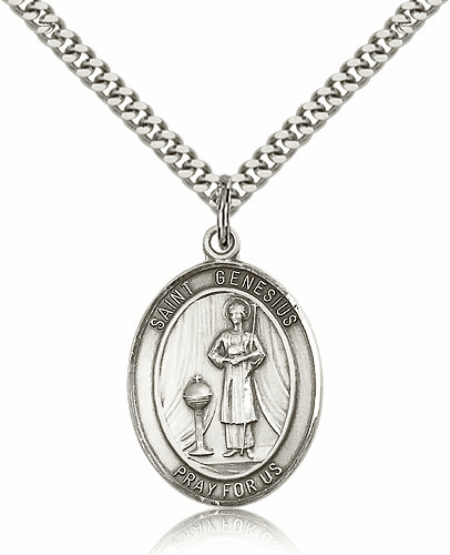 St Genesius of Rome Sterling Patron Saint Pendant Necklace by Bliss