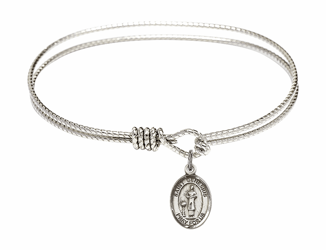 St Genesius of Rome Textured Bangle w/Sterling Charm Bracelet by Bliss