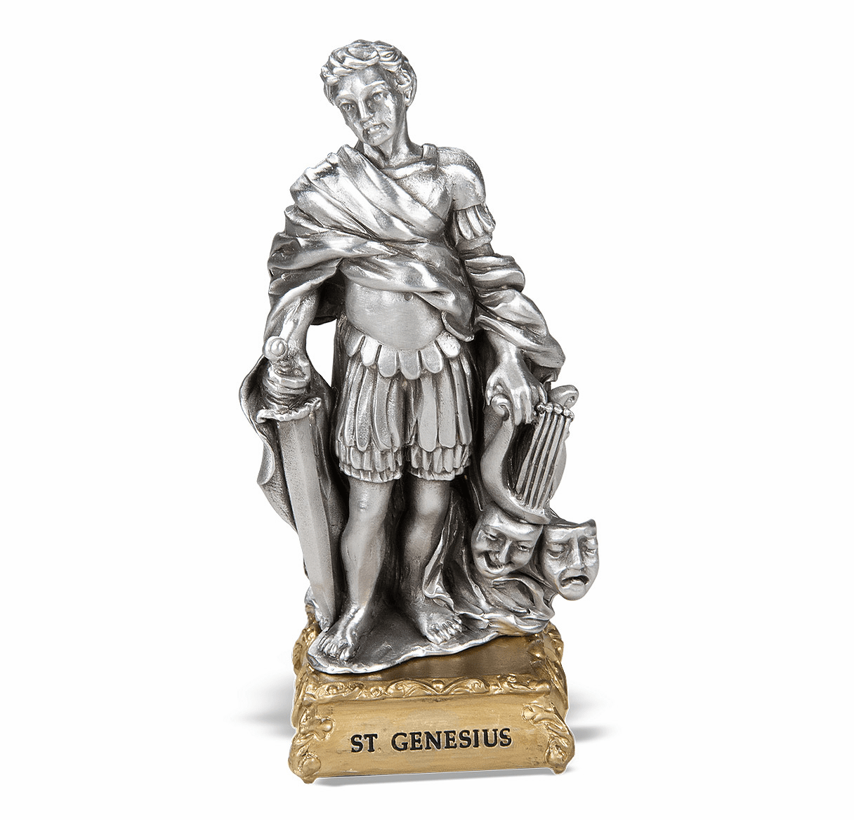 St Genesius Pewter Statue on Gold Tone Base by Hirten