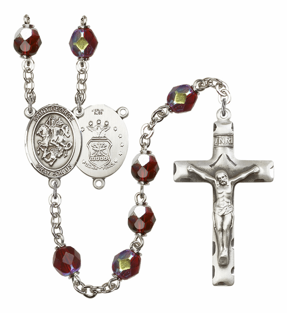 St George Air Force 7mm Lock Link AB Garnet Rosary by Bliss Mfg