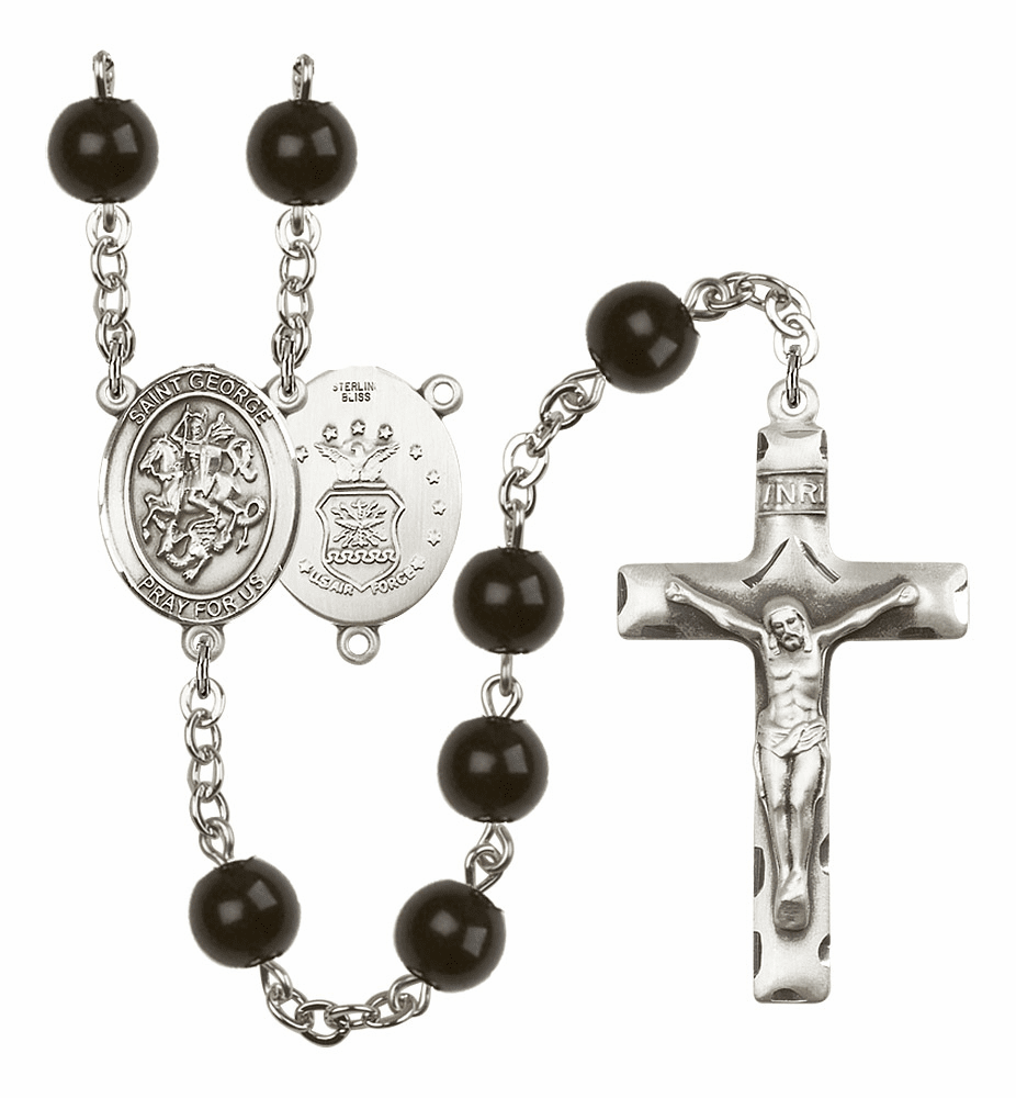 Bliss Mfg St George Air Force Silver 7mm Black Onyx Rosary