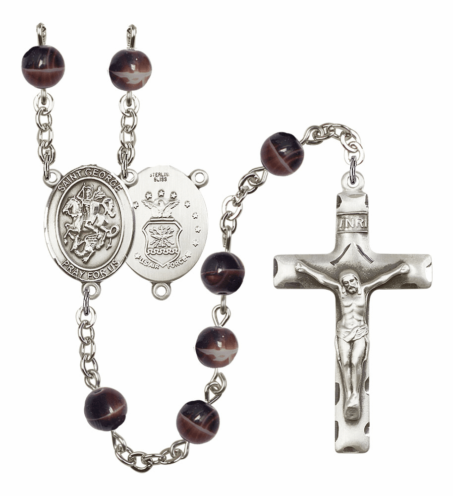 St George Air Force 7mm Brown Gemstone Rosary by Bliss