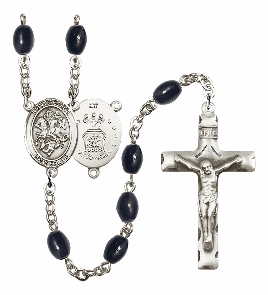 St George Air Force 8x6mm Black Onyx Gemstone Rosary by Bliss