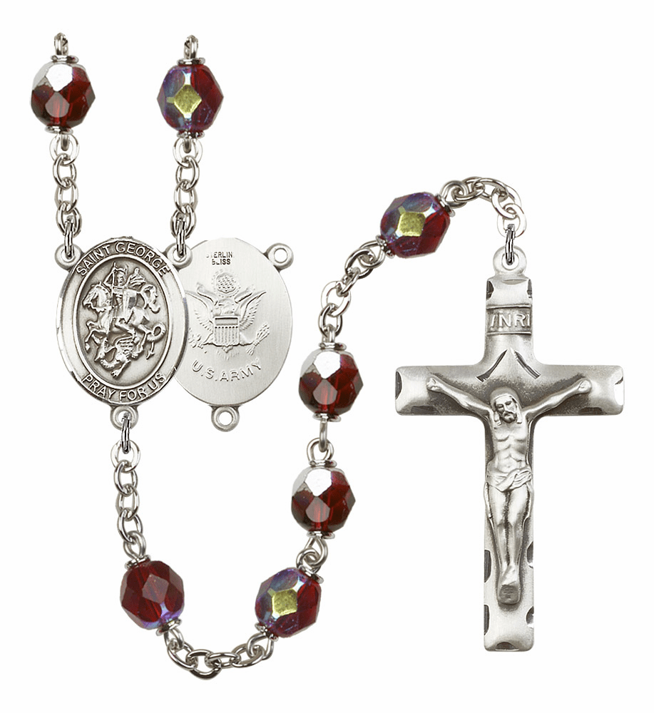 St George Army 7mm Lock Link AB Garnet Rosary by Bliss Mfg