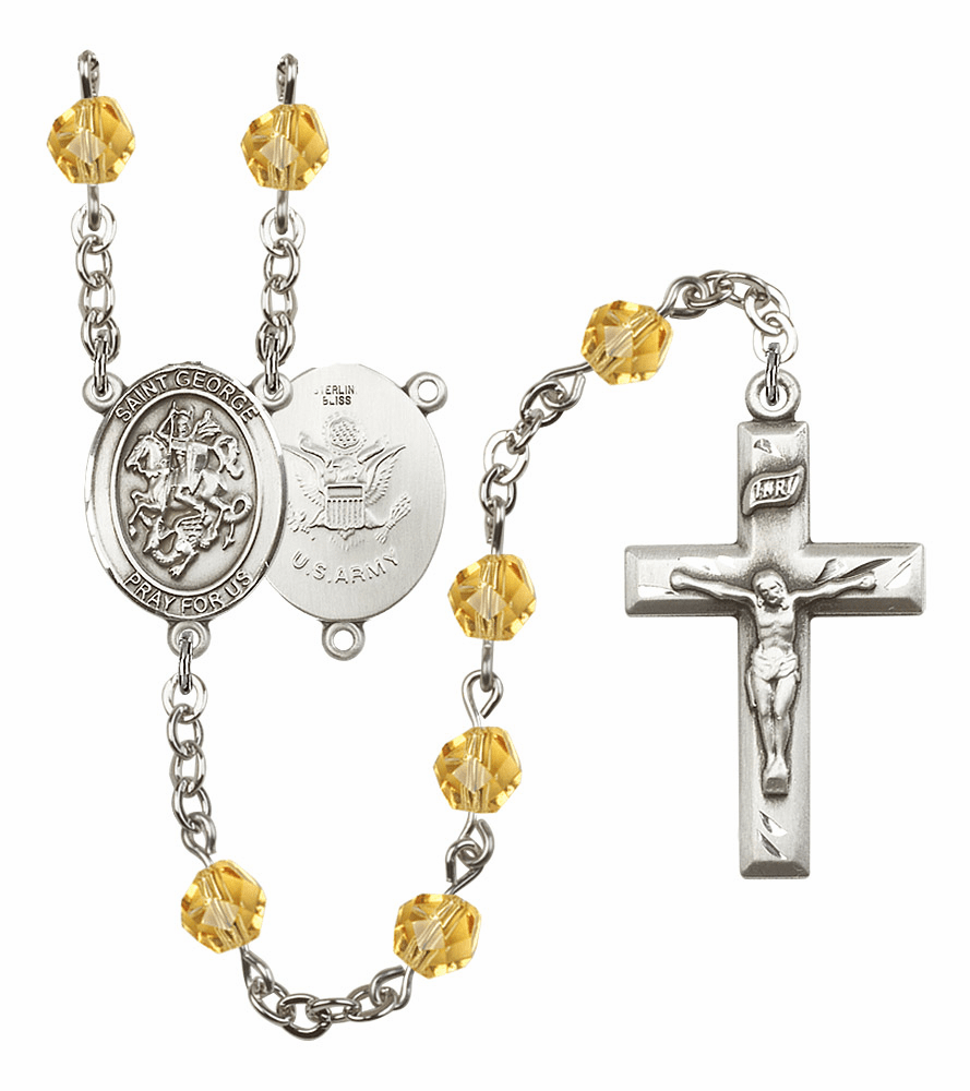 St George Army Military Birthstone Crystal Rosary by Bliss - More Colors