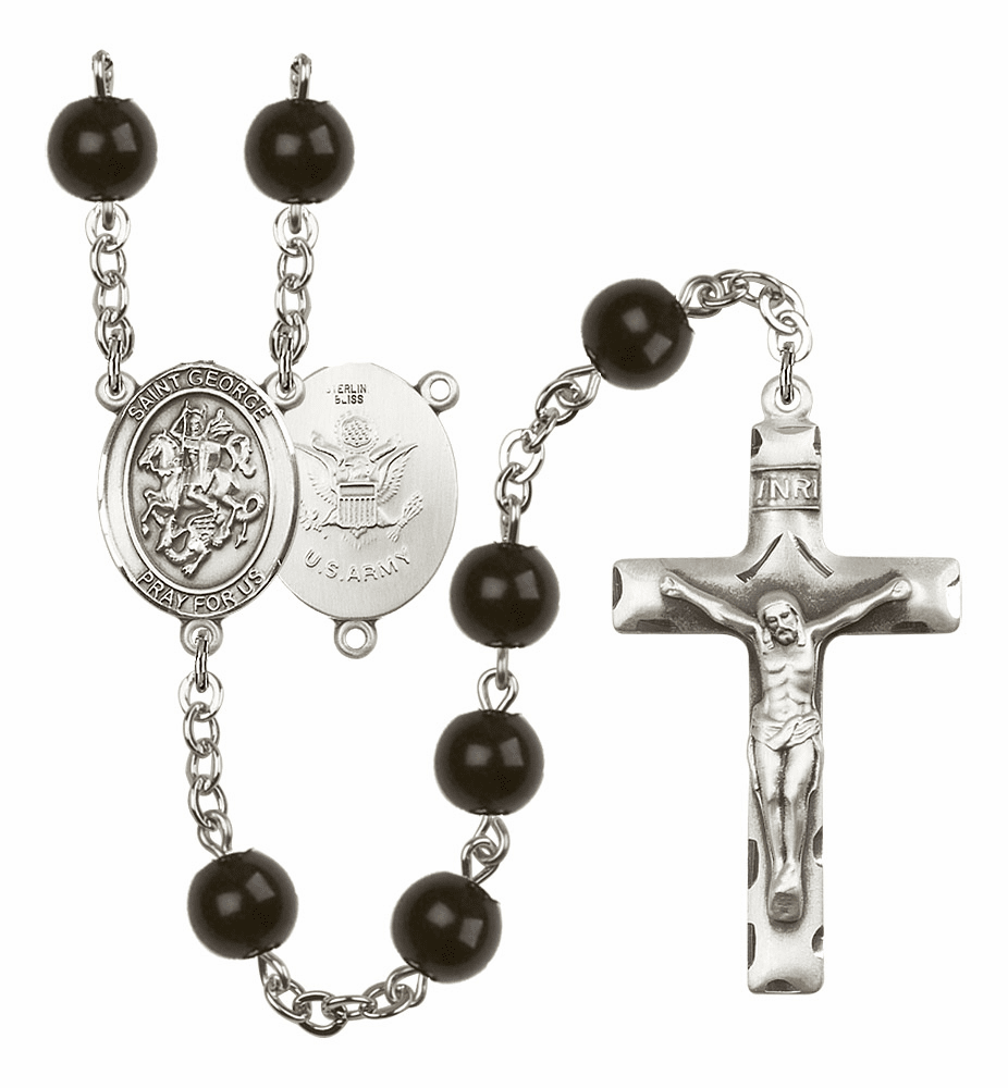 Bliss Mfg St George Army Silver 7mm Black Onyx Rosary