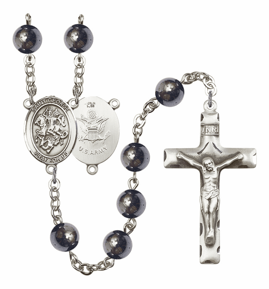 St George Army 8mm Hematite Gemstone Rosary by Bliss