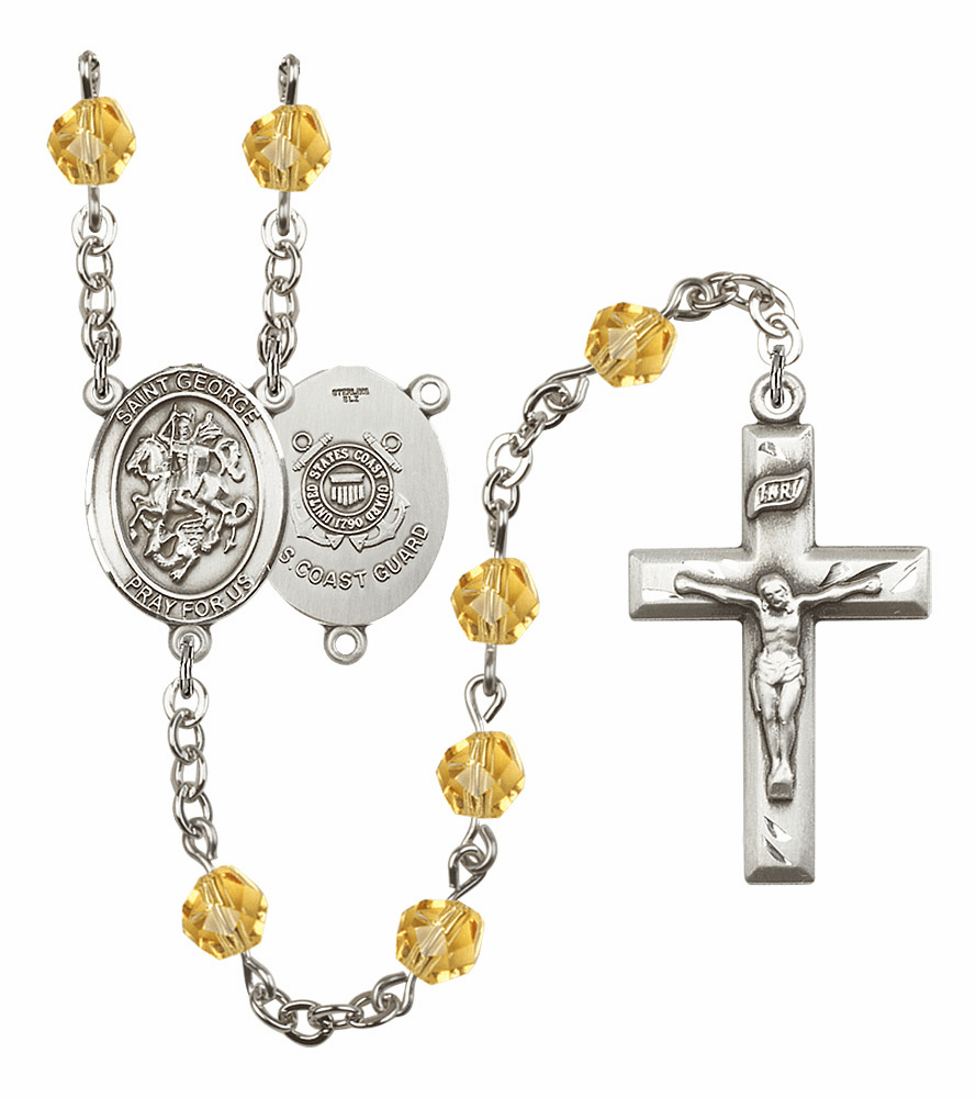 St George Coast Guard Military Birthstone Crystal Rosary by Bliss - More Colors