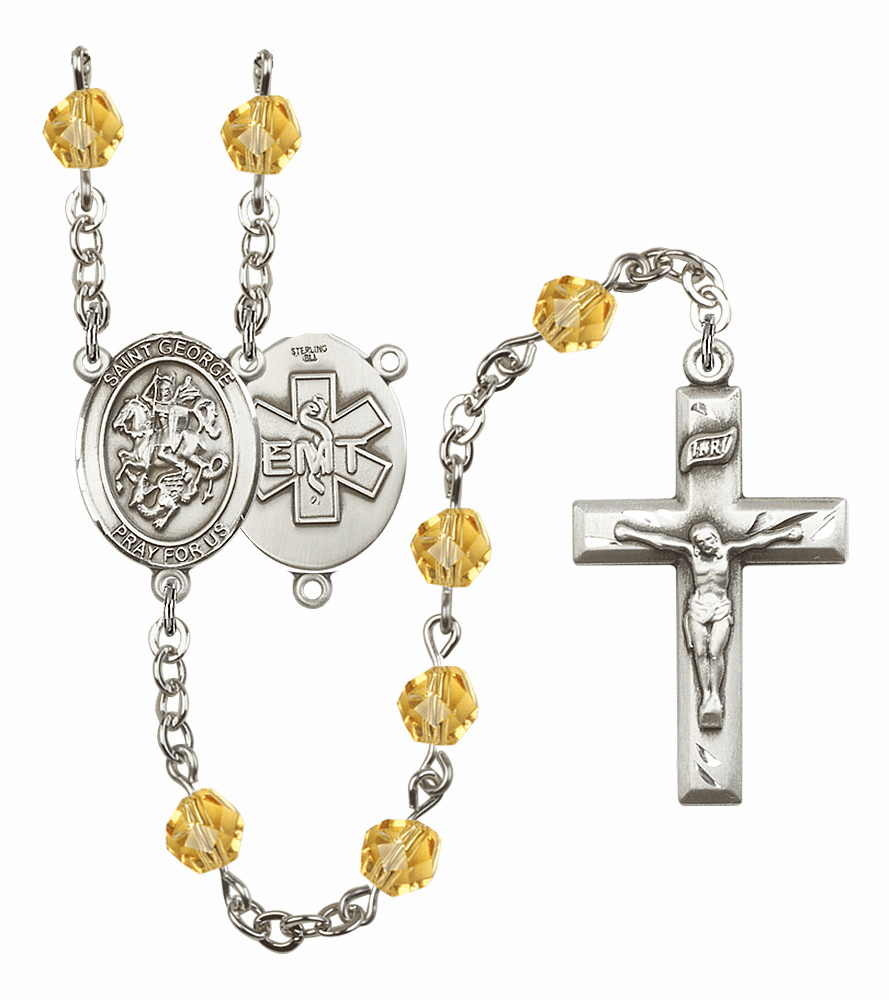 St George EMT Birthstone Crystal Prayer Rosary by Bliss