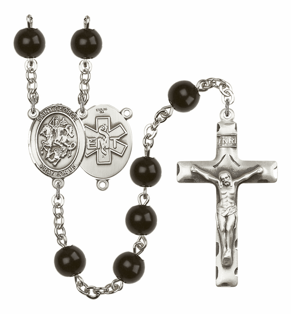 St George EMT Silver Plate 7mm Black Onyx  Prayer Rosary by Bliss