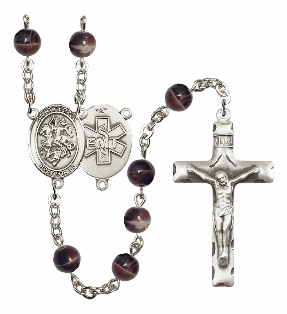 St George EMT Silver Plate 7mm Brown Gemstone Prayer Rosary by Bliss