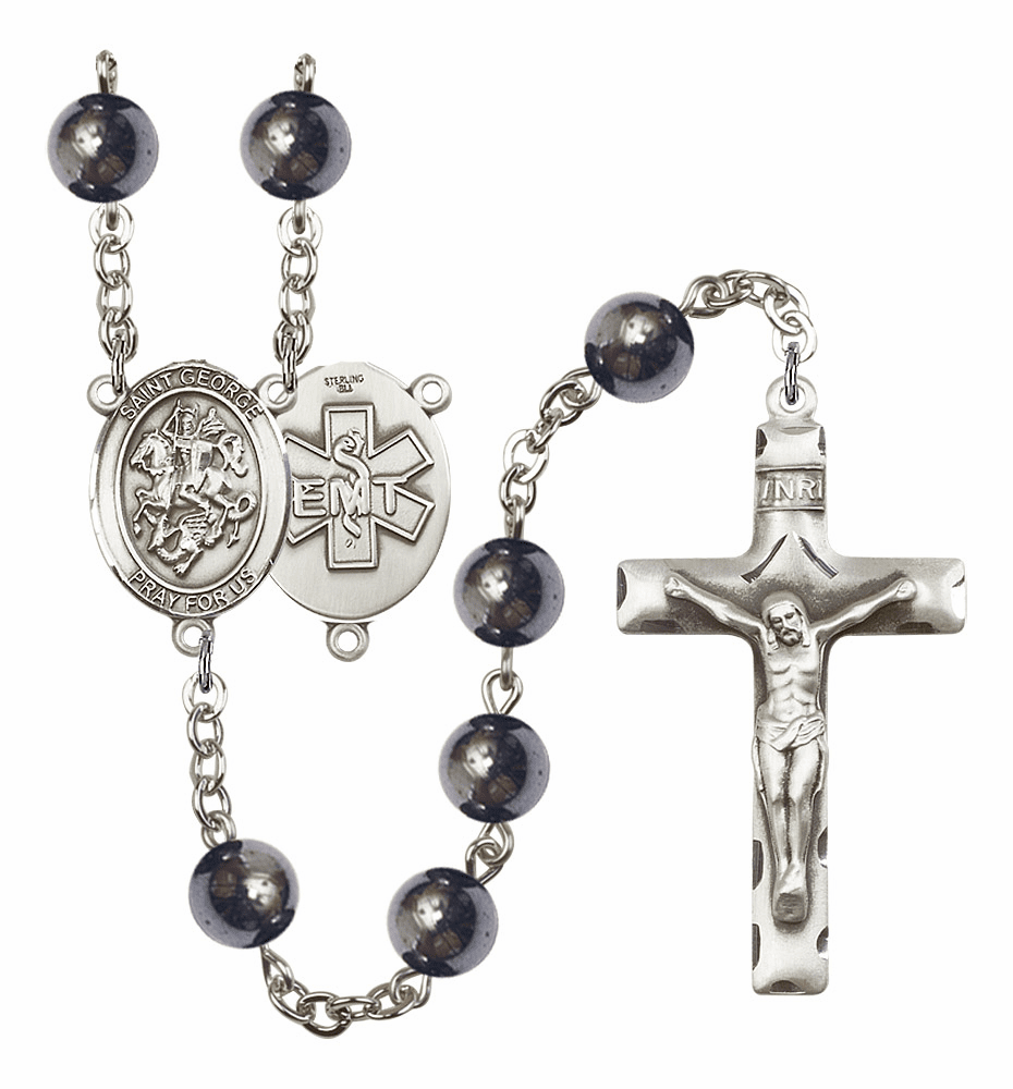 St George EMT Silver Plate 8mm Hematite Gemstone Prayer Rosary by Bliss