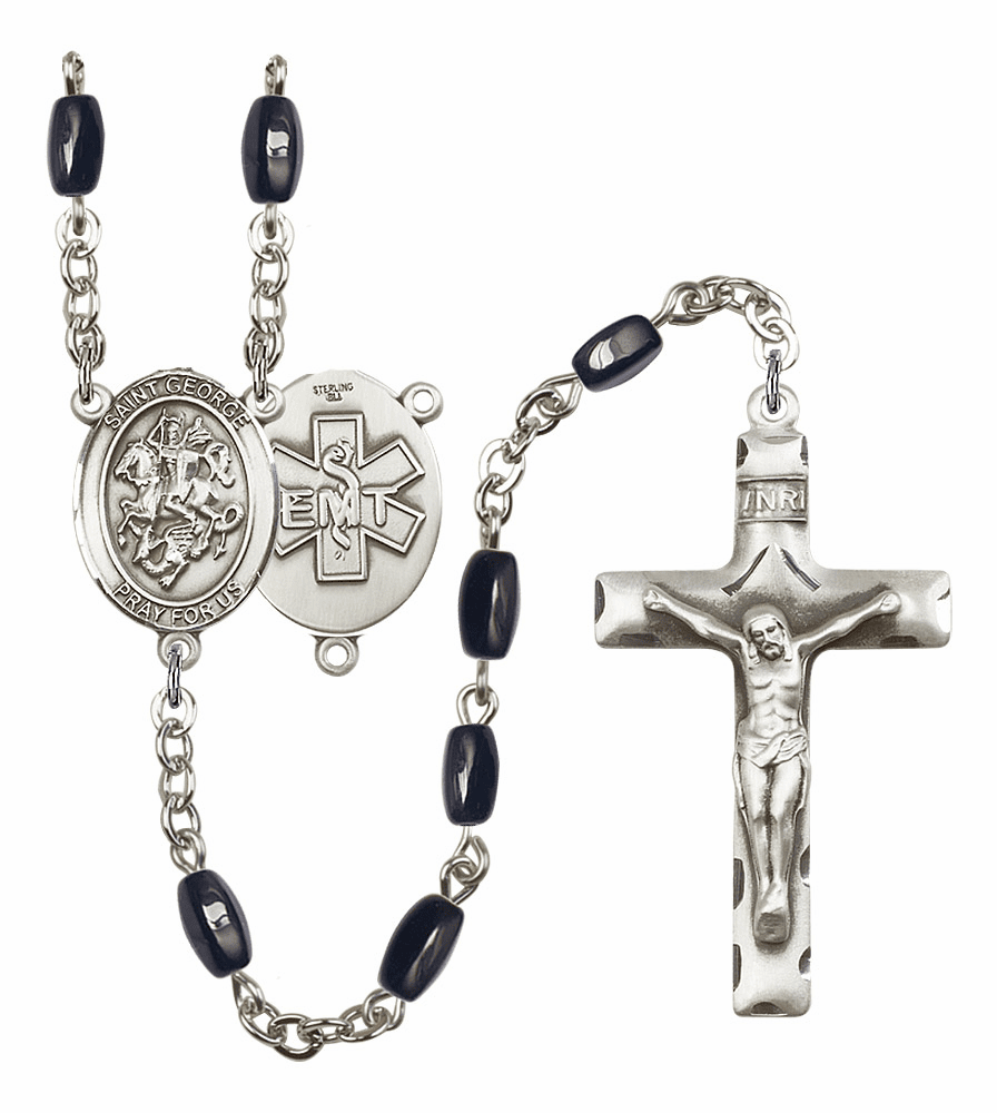 St George EMT Silver Plate 8x5mm Black Onyx Gemstone Prayer Rosary by Bliss