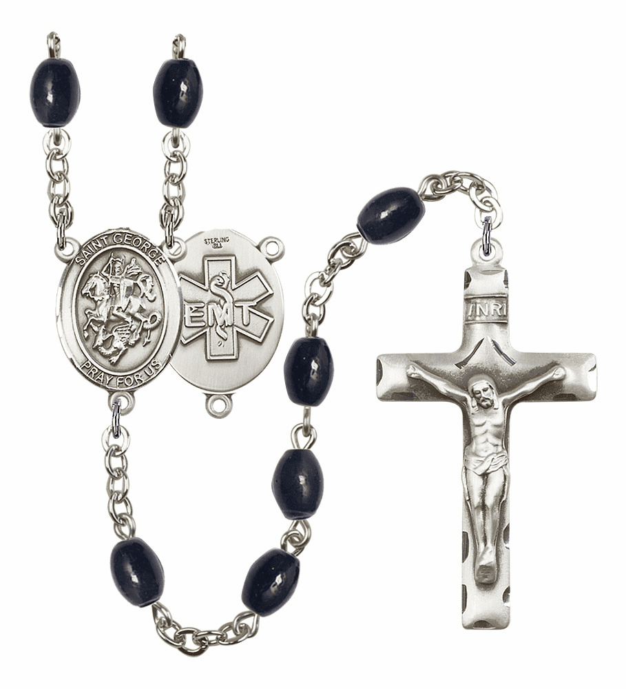 St George EMT Silver Plate 8x6mm Black Onyx Gemstone Prayer Rosary by Bliss