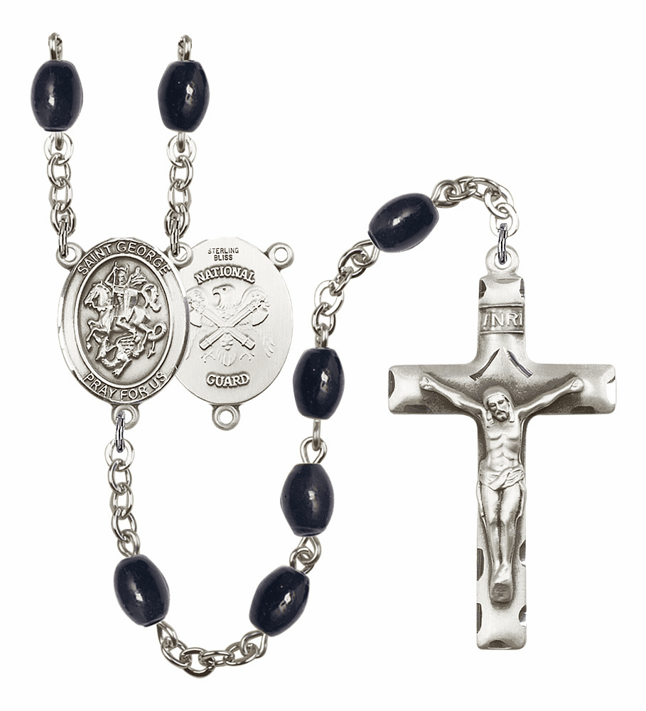 St George National Guard 8x6mm Black Onyx Gemstone Rosary by Bliss