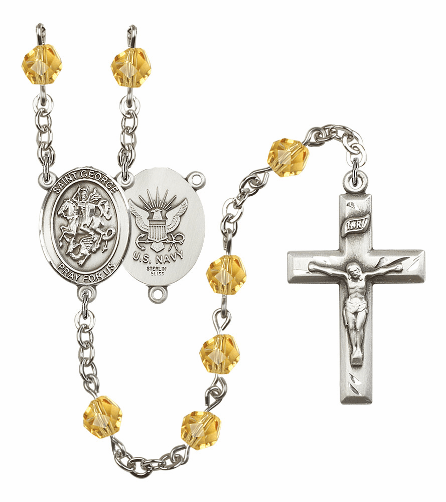 St George Navy Military Birthstone Crystal Rosary by Bliss - More Colors