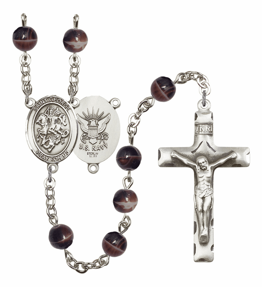 St George Navy 7mm Brown Gemstone Rosary by Bliss