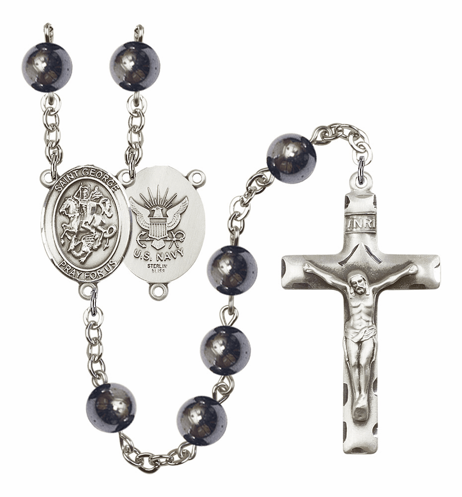 St George Navy 8mm Hematite Gemstone Rosary by Bliss