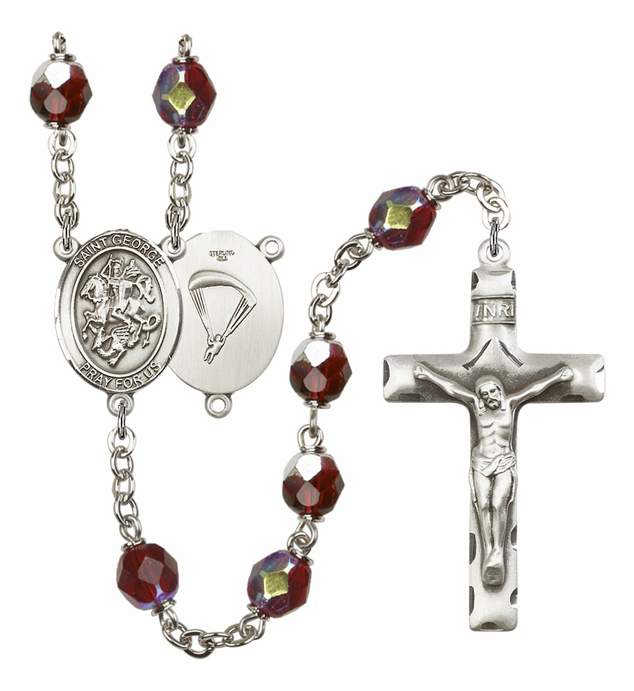 St George Paratrooper 7mm Lock Link AB Garnet Rosary by Bliss Mfg