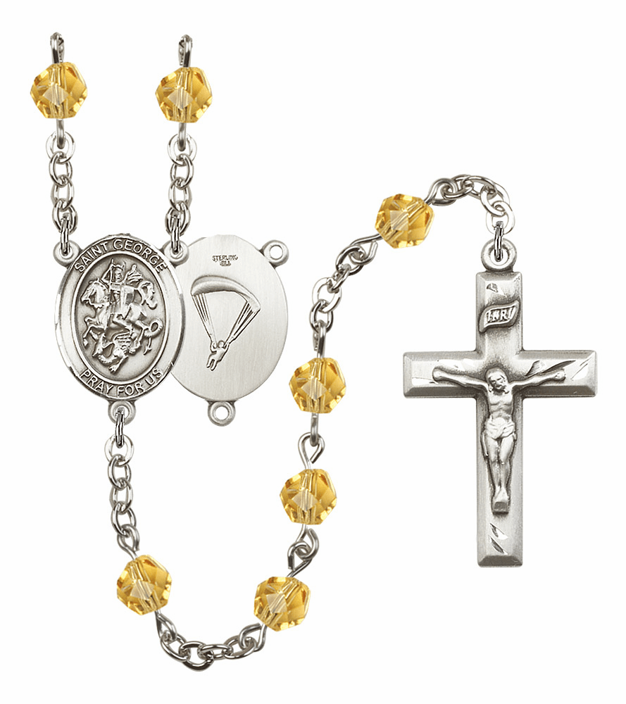 St George Paratrooper Military Birthstone Crystal Rosary by Bliss - More Colors