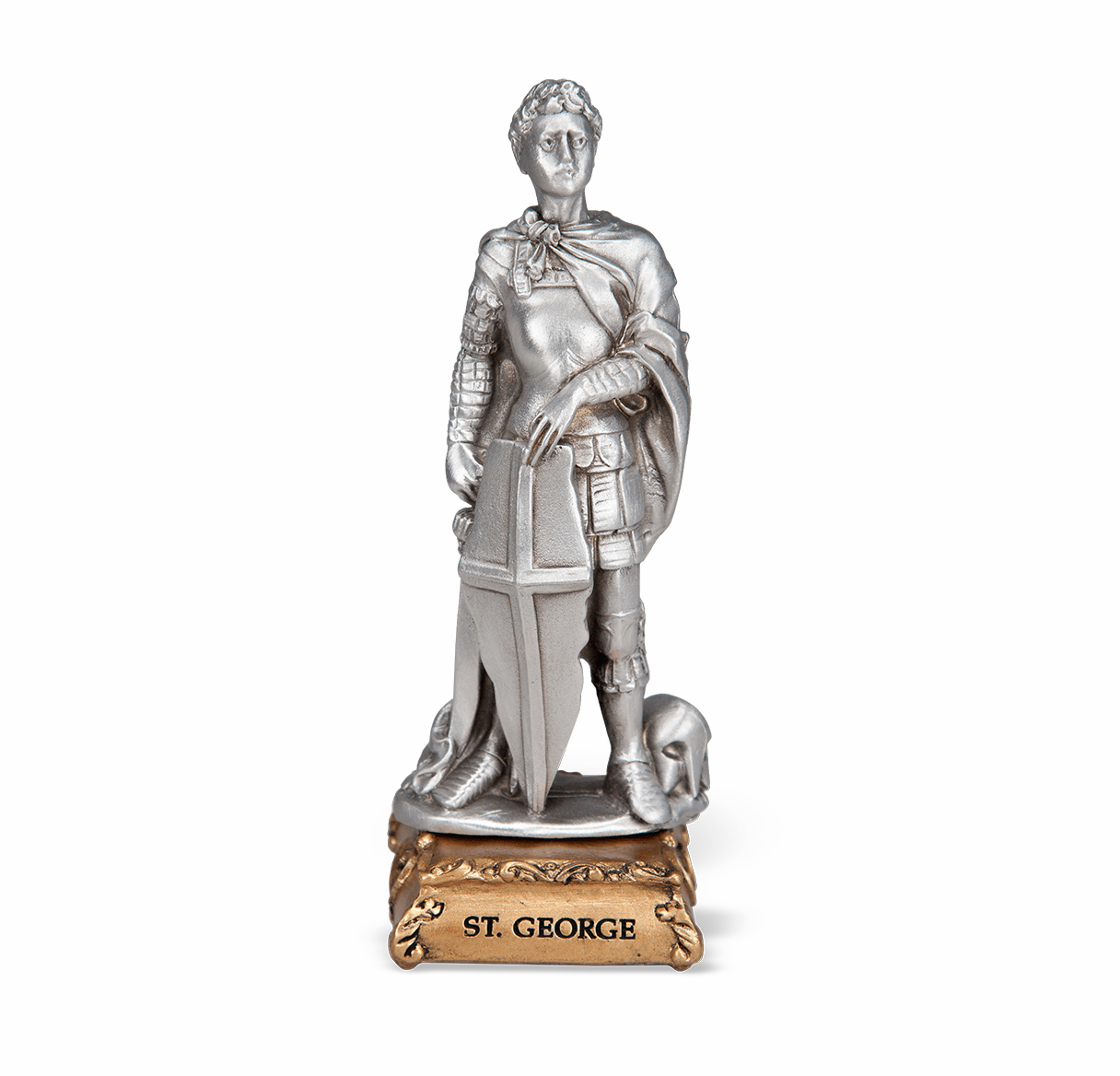St George Patron Saint Pewter Statue on Gold Tone Base by Hirten