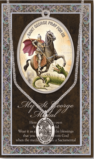 St George Pewter Patron Saint Medal Necklace with Prayer Pamphlet by Hirten