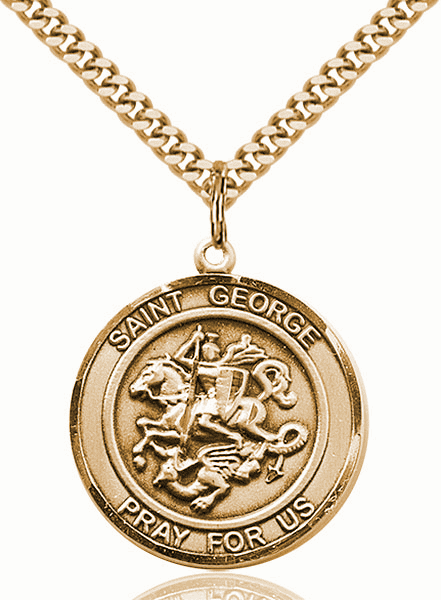 St George Round 14kt Gold-filled Patron Saint Medal Necklace by Bliss