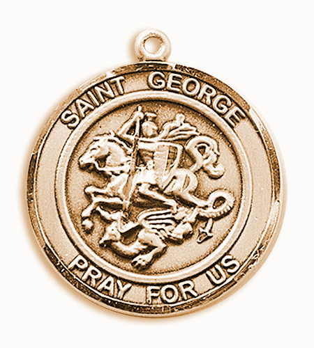 St George Round 14kt Gold Patron Saint Medal Pendant by Bliss