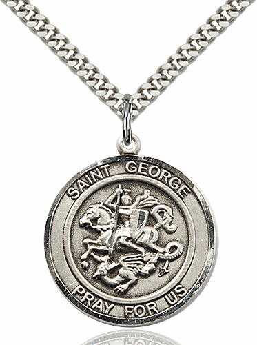St George Round Sterling Silver Patron Saint Medal Necklace by Bliss