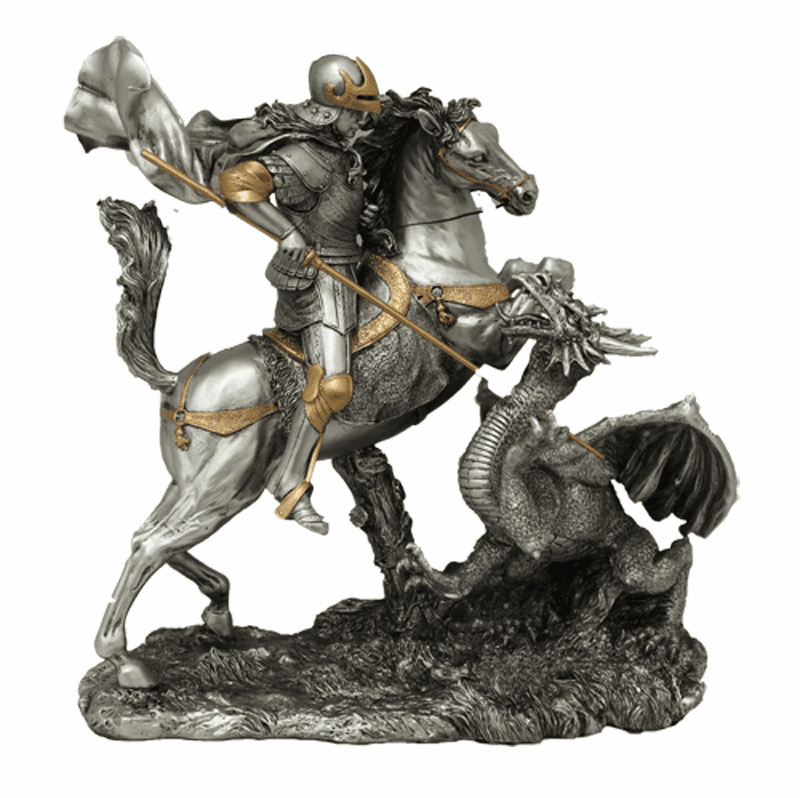 St George with Dragon Pewter Finish Religious Statue by Veronese